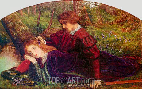 The Brave Geraint (Geraint and Enid), c.1860 | Arthur Hughes| Painting Reproduction