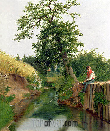 A Boy Fishing, undated | Arthur Hughes| Gemälde Reproduktion