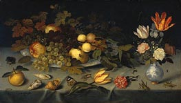 Still Life with Fruit and Flowers, 1620 by van der Ast | Painting Reproduction