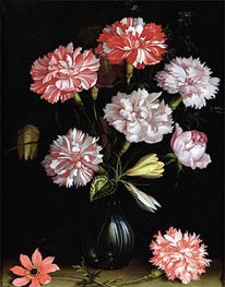 Floral Study: Carnations in a Vase, undated by van der Ast | Painting Reproduction