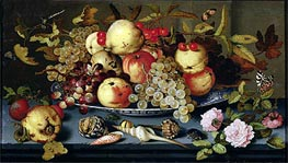 Still Life with Fruit, Flowers and Seafood, 1623 by van der Ast | Painting Reproduction