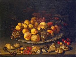 Plate with Fruits and Shells, 1630 von van der Ast | Gemälde-Reproduktion