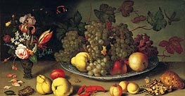 Still Life with Fruits and Flowers, c.1620 by van der Ast | Painting Reproduction