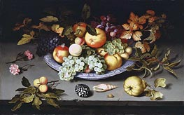 Still Life of Fruit on a Kraak Porcelain Dish, 1617 by van der Ast | Painting Reproduction