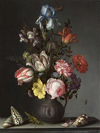 Flowers in a Vase with Shells and Insects, a.1630 by van der Ast | Painting Reproduction
