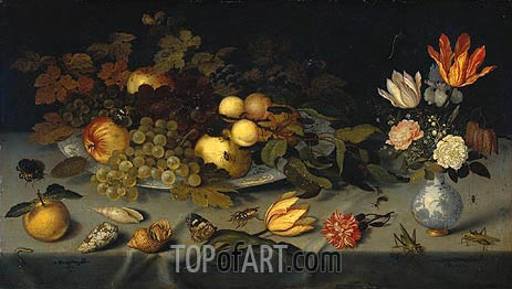 Still Life with Fruit and Flowers, 1620 | van der Ast | Painting Reproduction