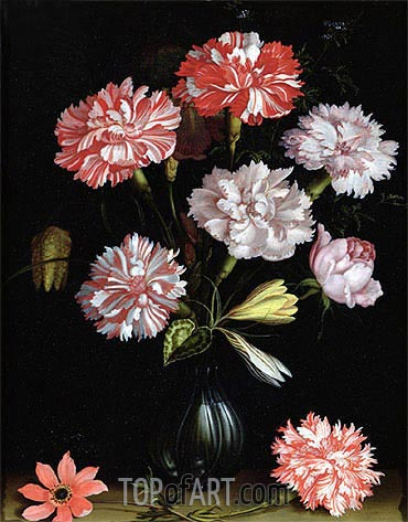 Floral Study: Carnations in a Vase, undated | van der Ast| Painting Reproduction