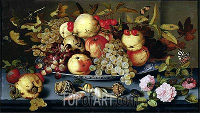 Still Life with Fruit, Flowers and Seafood, 1623 | van der Ast | Gemälde Reproduktion