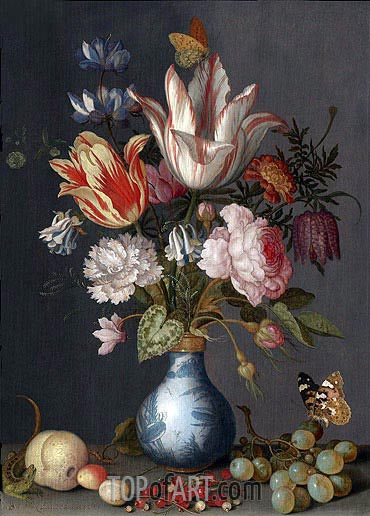 Flowers in a Blue and White Gilt Vase, undated | van der Ast | Painting Reproduction