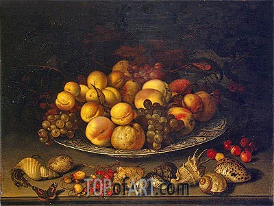 Plate with Fruits and Shells, 1630 | van der Ast | Painting Reproduction