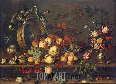 van der Ast | Still Life with Fruits, Shells and Insects, c.1620