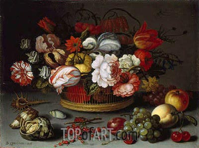 Basket of Flowers, c.1622 | van der Ast | Painting Reproduction