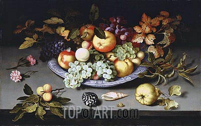 Still Life of Fruit on a Kraak Porcelain Dish, 1617 | van der Ast | Painting Reproduction