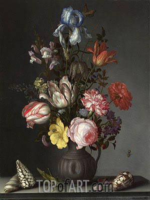van der Ast | Flowers in a Vase with Shells and Insects, a.1630