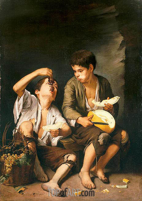 Beggar Boys Eating Grapes and Melon, c.1645/46 | Murillo | Painting Reproduction