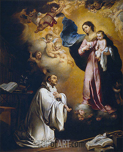 The Virgin Appears to Saint Bernard, c.1660 | Murillo | Gemälde Reproduktion