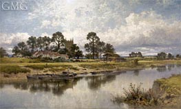 Severn Side, Sabrina's Stream at Kempsey on the River Severn, 1889 von Benjamin Williams Leader | Gemälde-Reproduktion