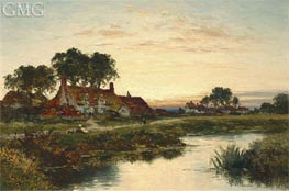 Worcestershire Cottages, 1897 von Benjamin Williams Leader | Gemälde-Reproduktion