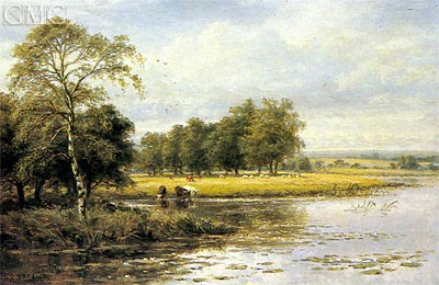 On the Thames,  | Benjamin Williams Leader | Painting Reproduction