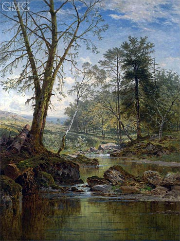 A Sunny Stream - Beardon, Dartmoor, 1883 | Benjamin Williams Leader | Painting Reproduction