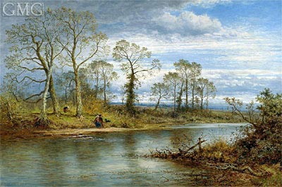 An English River in Autumn, 1877 | Benjamin Williams Leader | Painting Reproduction