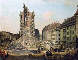 The Ruins of the Old Kreuzkirche, Dresden | Bernardo Bellotto | outdated