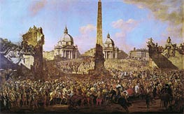 Entry into Rome of Jerzy Ossolinski Emissary of Wladyslaw IV of Poland with Pope Urban VIII, 1779 von Bernardo Bellotto | Gemälde-Reproduktion