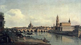 Dresden from the Right Bank of the Elbe below the Augustusbrucke, c.1751/53 von Bernardo Bellotto | Gemälde-Reproduktion
