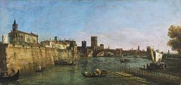 View of Verona with the Castelvecchio and Ponte Scaligero, c.1745/46 by Bernardo Bellotto | Painting Reproduction