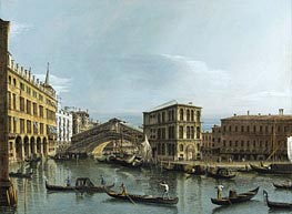 Venice: View of the Grand Canal with the Rialto Bridge, c.1740 by Bernardo Bellotto | Painting Reproduction