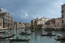 The Grand Canal Looking North from the Palazzo Contarini dagli Scrigni to the Palazzo Rezzonico, undated by Bernardo Bellotto | Painting Reproduction