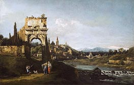 Imaginary Landscape, b.1747 by Bernardo Bellotto | Painting Reproduction