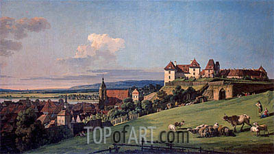View of Pirna from the Sonnenstein Castle, c.1750/60 | Bernardo Bellotto | Painting Reproduction