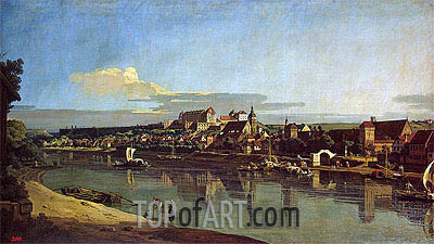 View of Purna from the Right Bank of the Elbe, c.1753 | Bernardo Bellotto| Painting Reproduction