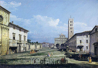 The Piazza San Martino and The Duomo, c.1747 | Bernardo Bellotto| Painting Reproduction
