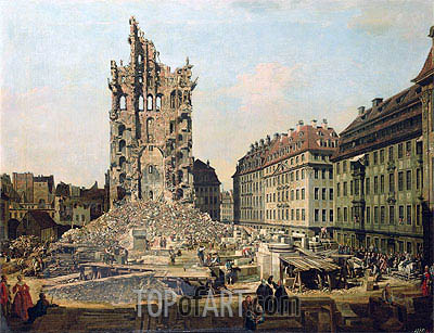 The Ruins of the Old Kreuzkirche, Dresden, undated | Bernardo Bellotto| Gemälde Reproduktion