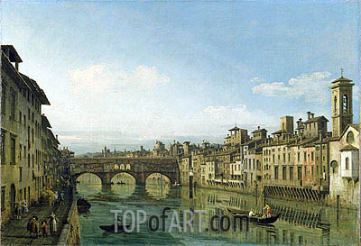 The Arno in Florence with the Ponte Vecchio, c.1745 | Bernardo Bellotto | Painting Reproduction