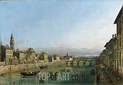 The Arno in Florence with the Ponte alla Carraia, c.1745 | Bernardo Bellotto | Painting Reproduction