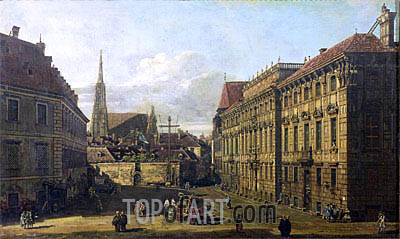 A view of the Lobkowicz Palace in Vienna, c.1760/67 | Bernardo Bellotto | Painting Reproduction