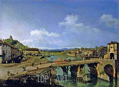 View of an Old Bridge Over the River Po, Turin, 1745 | Bernardo Bellotto | Painting Reproduction