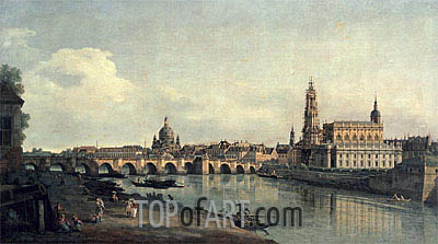 Dresden from the Right Bank of the Elbe below the Augustusbrucke, c.1751/53 | Bernardo Bellotto| Painting Reproduction