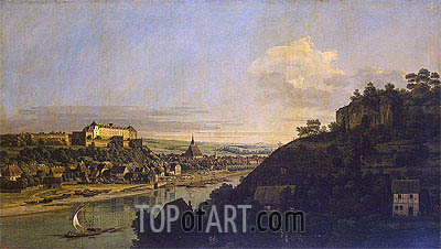 View of Pirna from the Right Bank of the Elba, c.1753 | Bernardo Bellotto| Gemälde Reproduktion