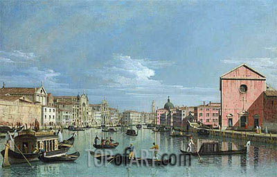 Venice: Upper Reaches of the Grand Canal Facing Santa Croce, c.1740/50 | Bernardo Bellotto | Gemälde Reproduktion