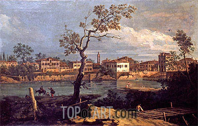 Country, Shore by the River, undated | Bernardo Bellotto | Painting Reproduction