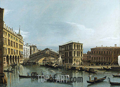 Venice: View of the Grand Canal with the Rialto Bridge, c.1740 | Bernardo Bellotto| Painting Reproduction