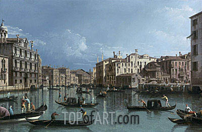 The Grand Canal Looking North from the Palazzo Contarini dagli Scrigni to the Palazzo Rezzonico, undated | Bernardo Bellotto | Gemälde Reproduktion