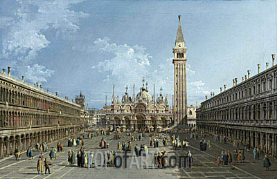 The Piazza San Marco, Venice, undated | Bernardo Bellotto| Painting Reproduction