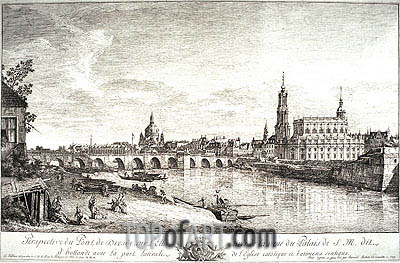 View from the Bridge of Dresden on the Elbe, 1749 | Bernardo Bellotto | Painting Reproduction