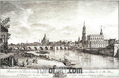 Bernardo Bellotto | View from the Bridge of Dresden on the Elbe, 1749