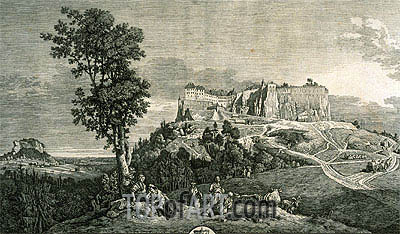 View of the Rock and of the Fortress of Koenigstein from the West Side, c.1765 | Bernardo Bellotto | Gemälde Reproduktion